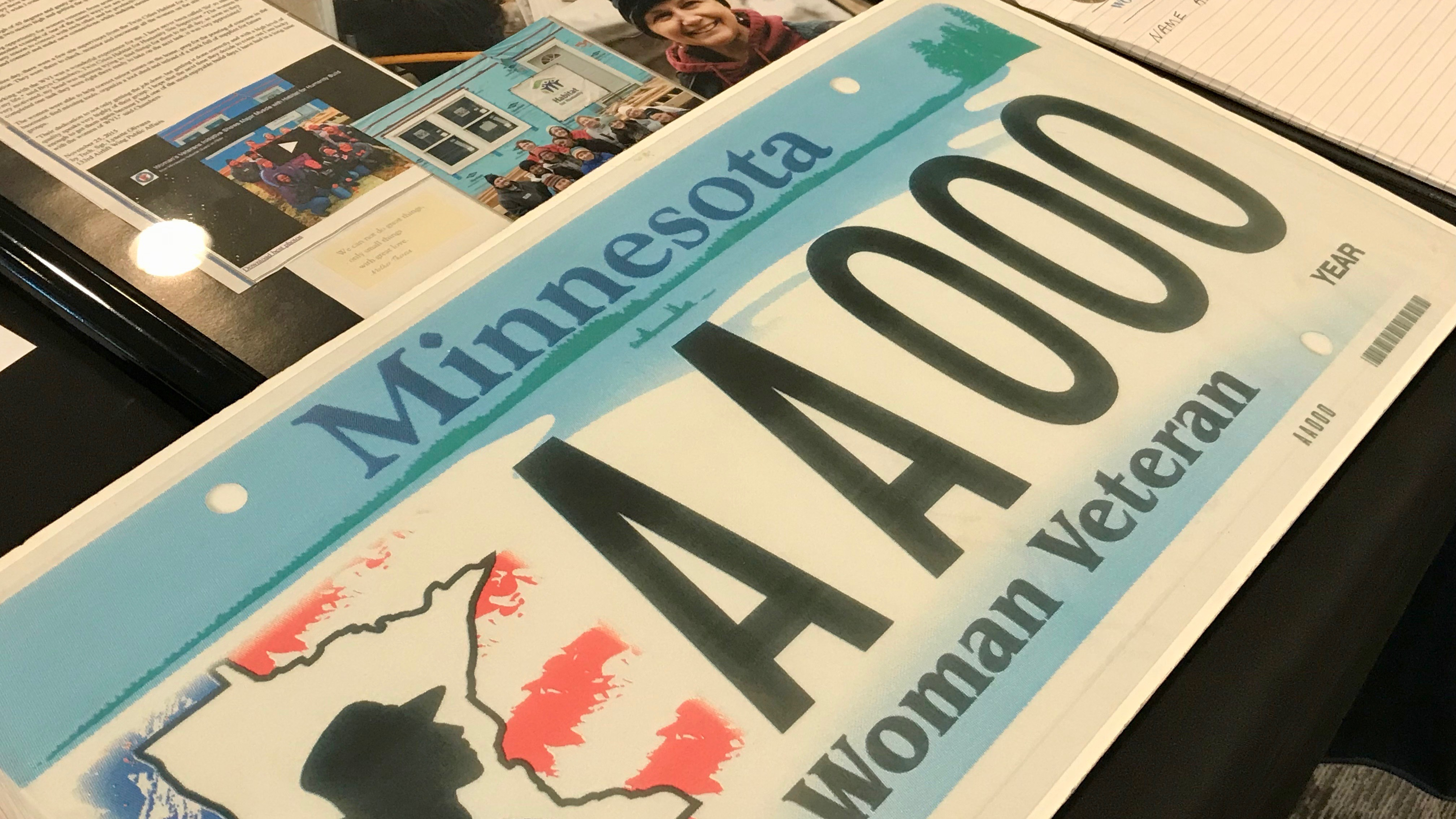 A Minnesota Woman Veteran license plate.