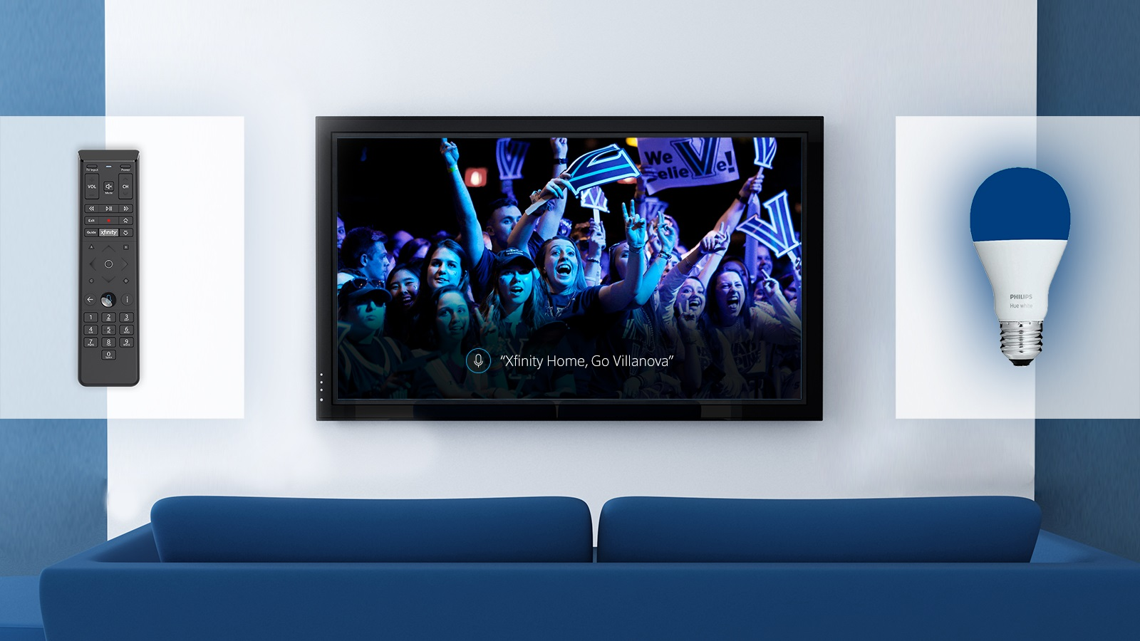 """A TV displays an X1 Voice Remote voice command that reads """"Xfinity Home, Go Villanova""""."""
