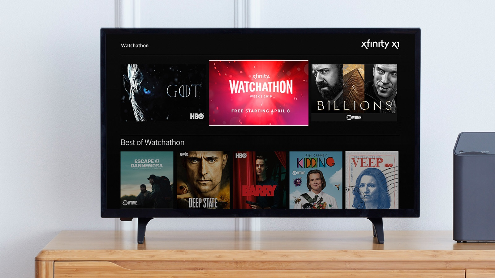 The Xfinity X1 Watchathon hub is displayed on a TV.